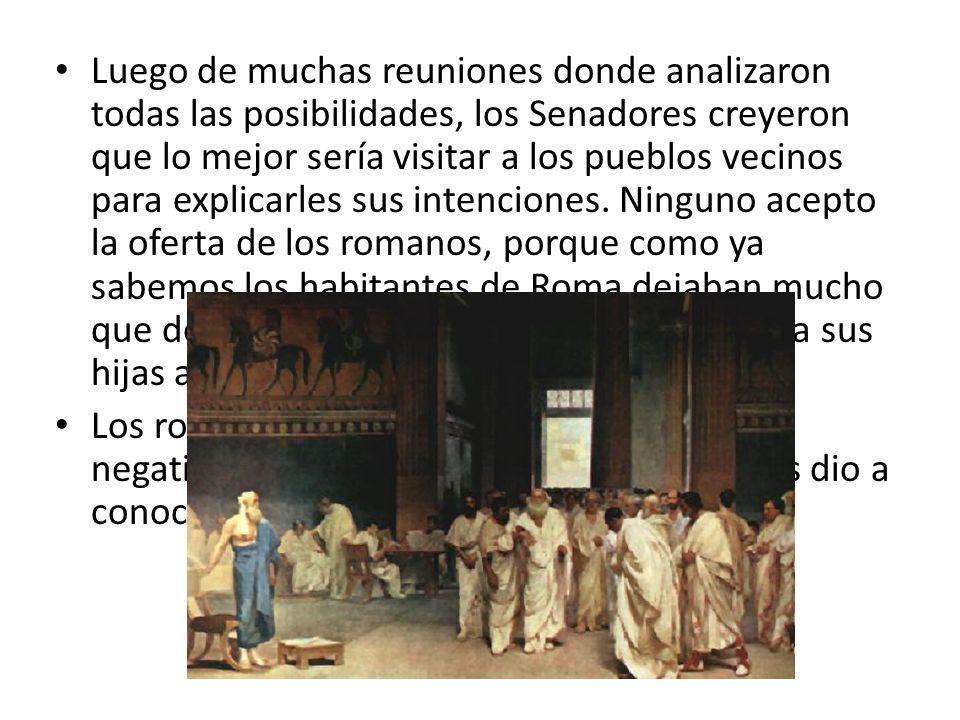 Cuando llegó la fiesta del dios Consus, Rómulo organizó unas grandiosas carreras de caballos invitando a las poblaciones vecinas.