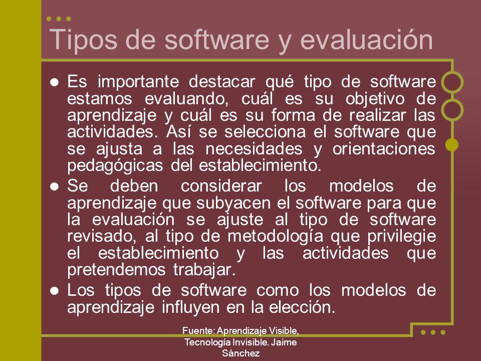 Fuente: Aprendizaje Visible, Tecnología Invisible. Jaime Sánchez Tipos de software y evaluación Es importante destacar qué tipo de software estamos ev