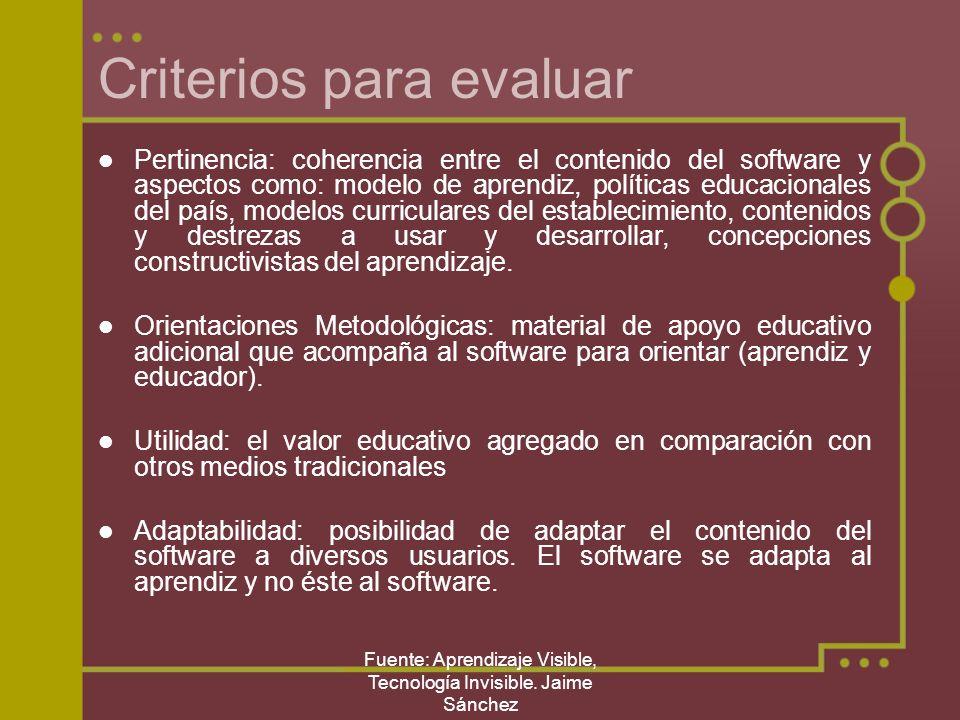 Fuente: Aprendizaje Visible, Tecnología Invisible. Jaime Sánchez Criterios para evaluar Pertinencia: coherencia entre el contenido del software y aspe