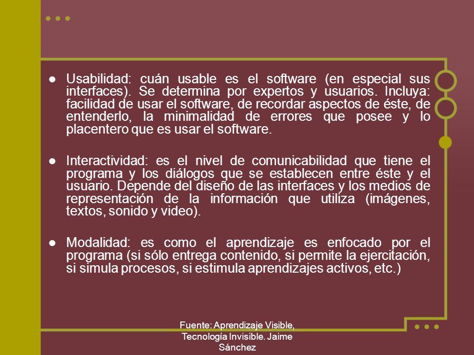 Fuente: Aprendizaje Visible, Tecnología Invisible. Jaime Sánchez Usabilidad: cuán usable es el software (en especial sus interfaces). Se determina por
