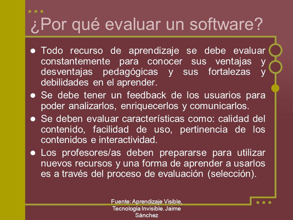 Fuente: Aprendizaje Visible, Tecnología Invisible. Jaime Sánchez ¿Por qué evaluar un software? Todo recurso de aprendizaje se debe evaluar constanteme