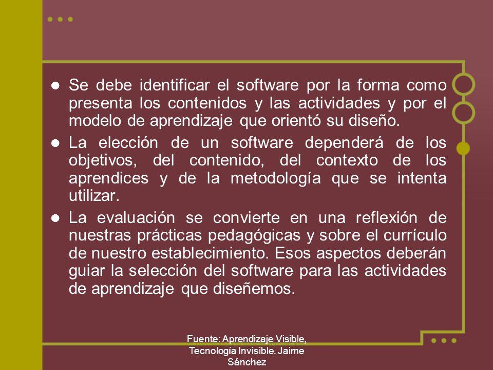 Fuente: Aprendizaje Visible, Tecnología Invisible. Jaime Sánchez Se debe identificar el software por la forma como presenta los contenidos y las activ
