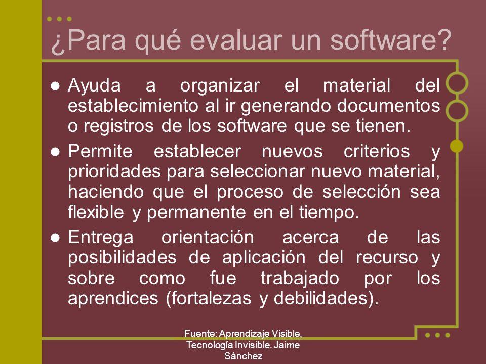 Fuente: Aprendizaje Visible, Tecnología Invisible. Jaime Sánchez ¿Para qué evaluar un software? Ayuda a organizar el material del establecimiento al i