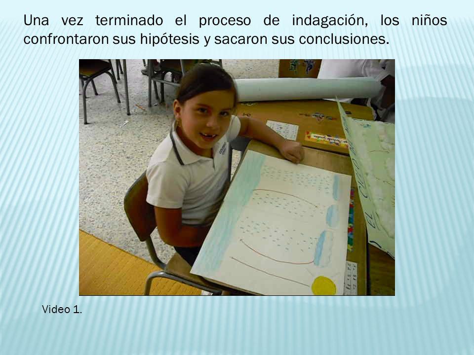 Una vez terminado el proceso de indagación, los niños confrontaron sus hipótesis y sacaron sus conclusiones. Video 1.