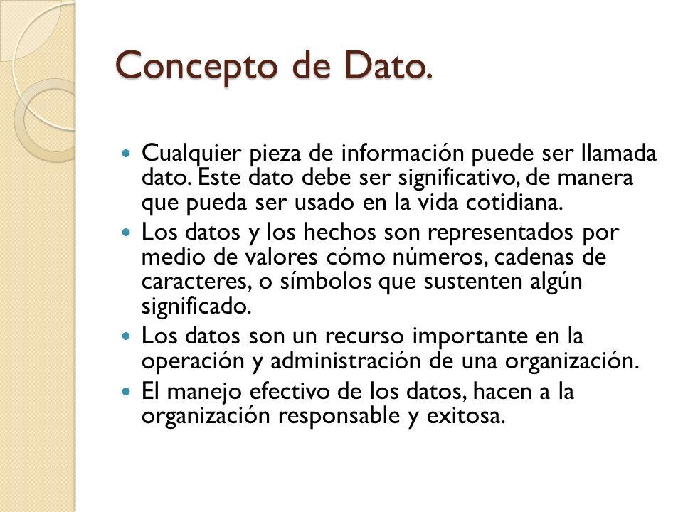 Base de Datos Se puede definir como una colección de datos y objetos relacionados con un tema o propósito determinado, por ejemplo, - Los datos completos de los empleados de una empresa - Los productos del inventario de un almacén - Las casas registradas en una inmobiliaria - Los huéspedes registrados en un hotel.