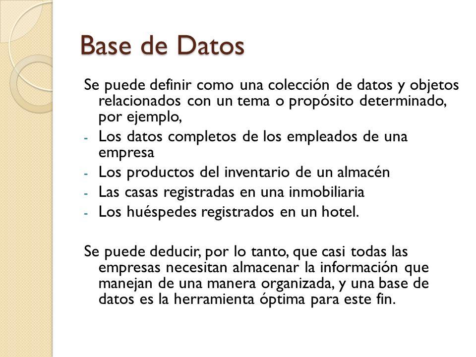 Tabla Es la estructura fundamental de un sistema de administración de bases de datos relacional.