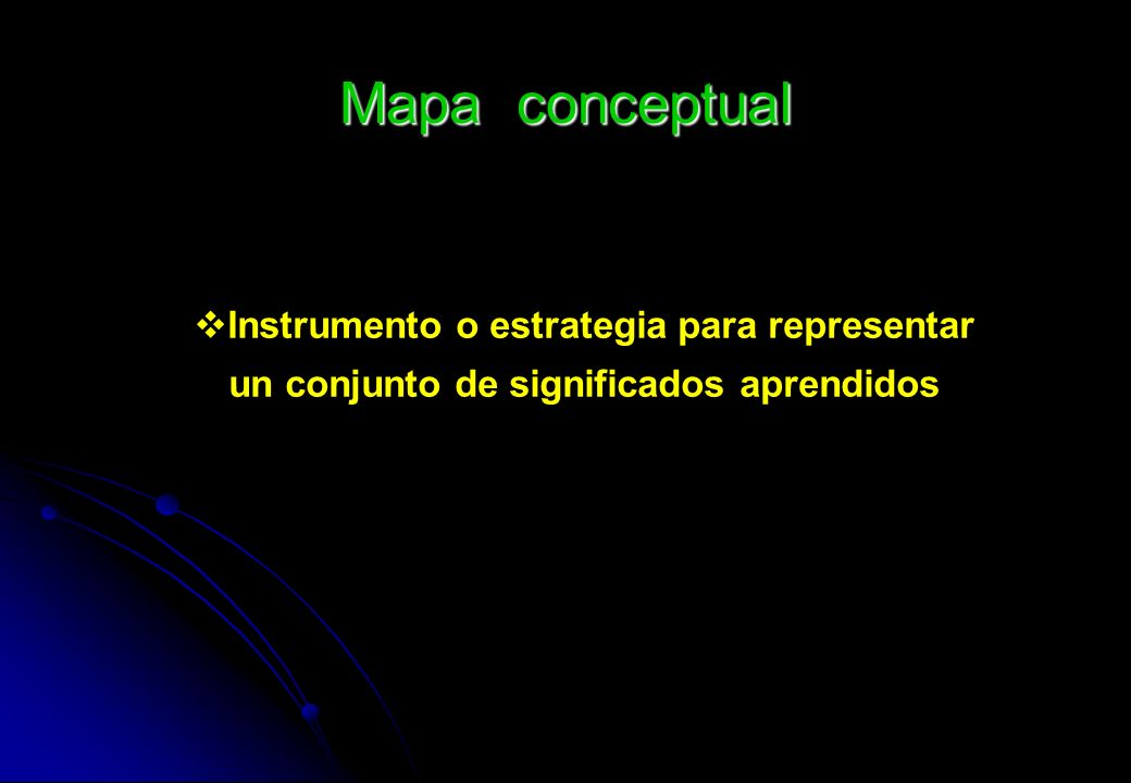 Mapa conceptual Instrumento o estrategia para representar un conjunto de significados aprendidos