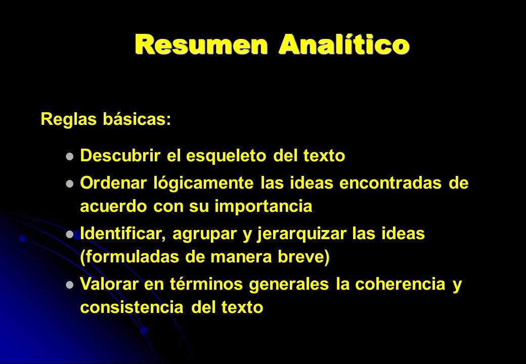 Resumen Analítico Reglas básicas: Descubrir el esqueleto del texto Ordenar lógicamente las ideas encontradas de acuerdo con su importancia Identificar