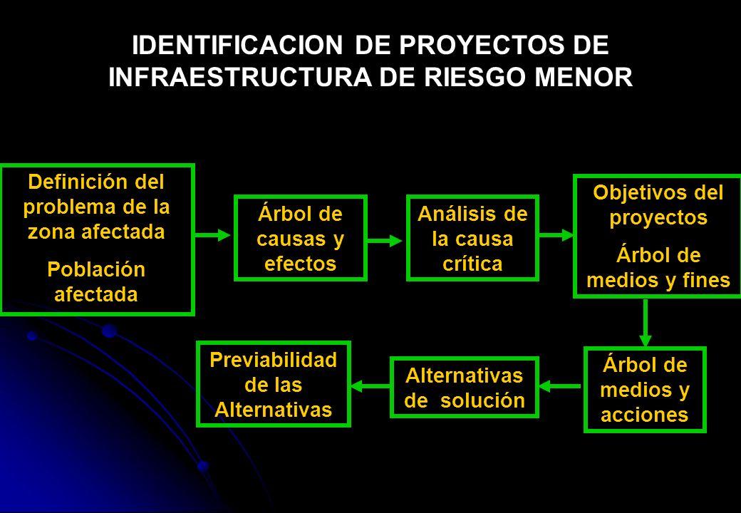 IDENTIFICACION DE PROYECTOS DE INFRAESTRUCTURA DE RIESGO MENOR Definición del problema de la zona afectada Población afectada Árbol de causas y efecto