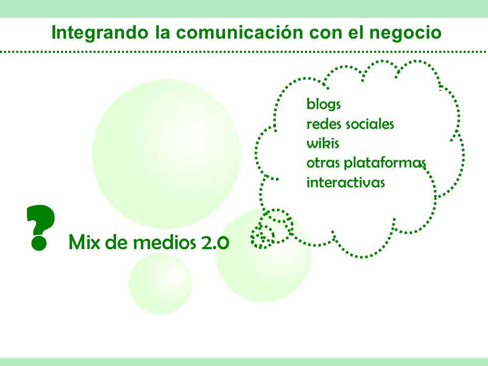 Integrando la comunicación con el negocio Mix de medios 2.0 .