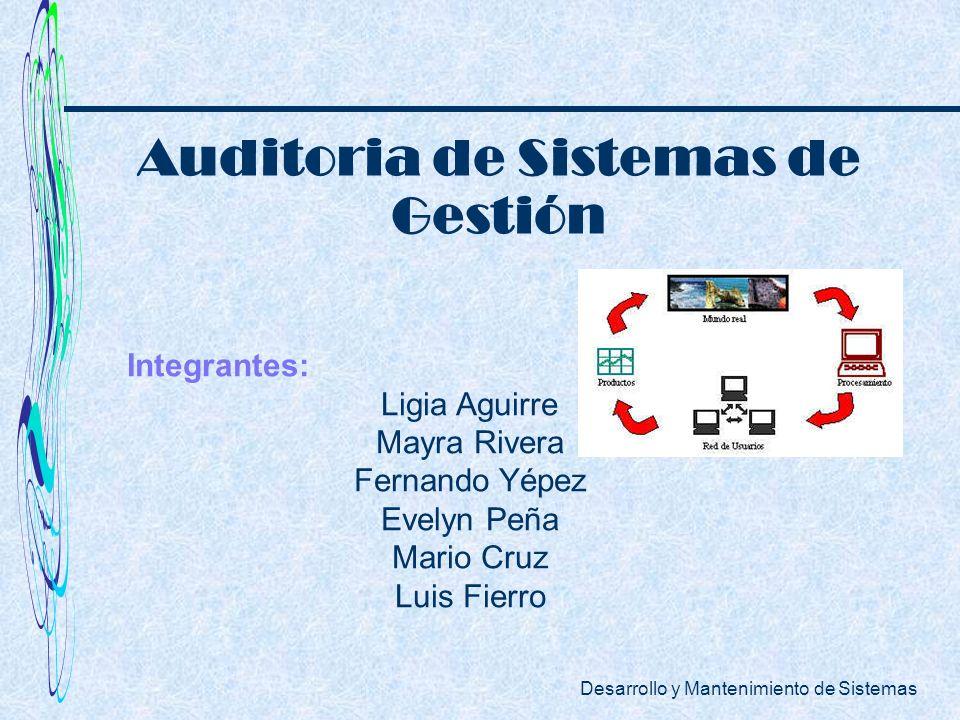 Desarrollo y Mantenimiento de Sistemas Integrantes: Ligia Aguirre Mayra Rivera Fernando Yépez Evelyn Peña Mario Cruz Luis Fierro Auditoria de Sistemas