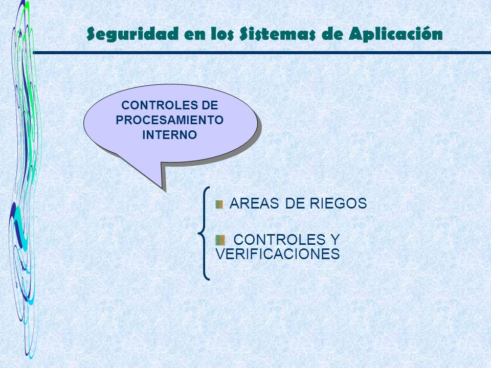 Seguridad en los Sistemas de Aplicación CONTROLES DE PROCESAMIENTO INTERNO AREAS DE RIEGOS CONTROLES Y VERIFICACIONES
