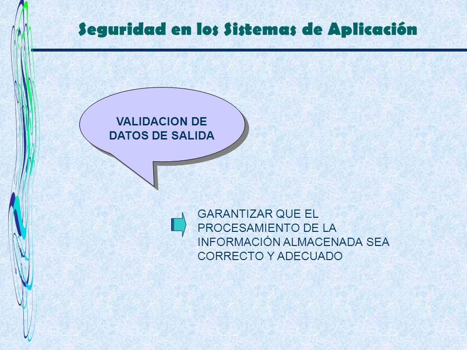Seguridad en los Sistemas de Aplicación VALIDACION DE DATOS DE SALIDA GARANTIZAR QUE EL PROCESAMIENTO DE LA INFORMACIÓN ALMACENADA SEA CORRECTO Y ADEC