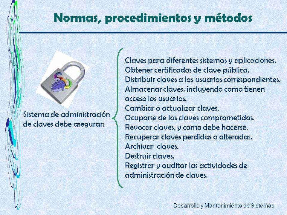 Desarrollo y Mantenimiento de Sistemas Normas, procedimientos y métodos Sistema de administración de claves debe asegurar: Claves para diferentes sist