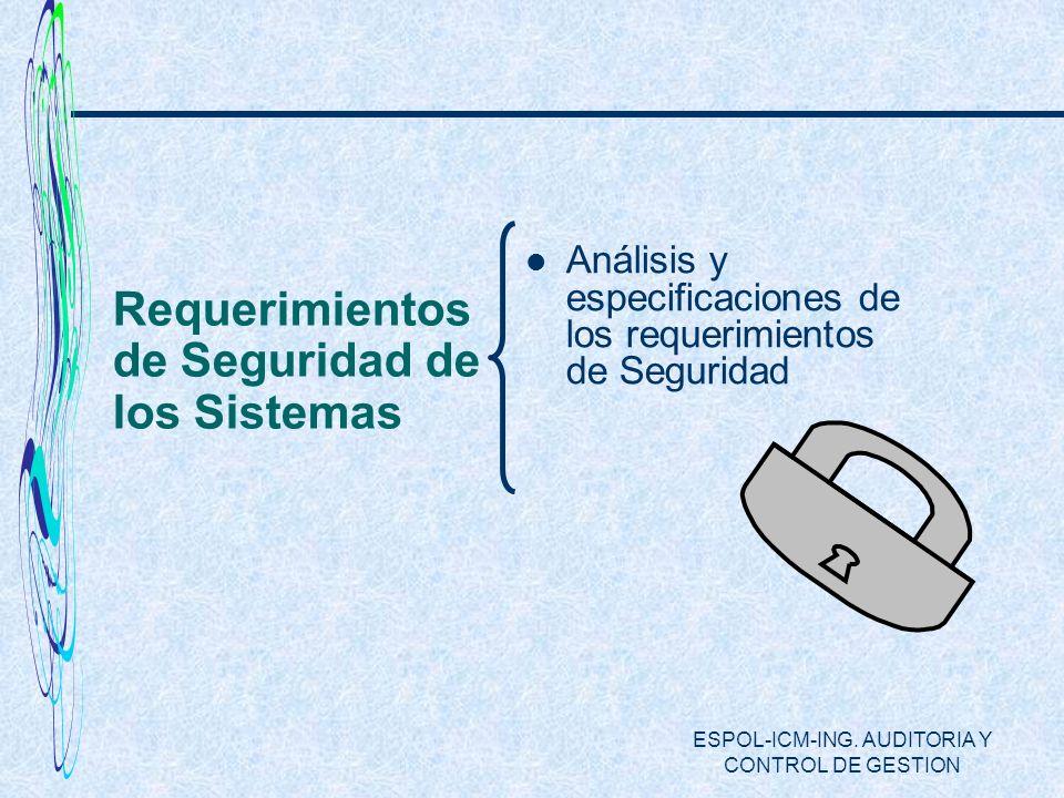 ESPOL-ICM-ING. AUDITORIA Y CONTROL DE GESTION Requerimientos de Seguridad de los Sistemas Análisis y especificaciones de los requerimientos de Segurid