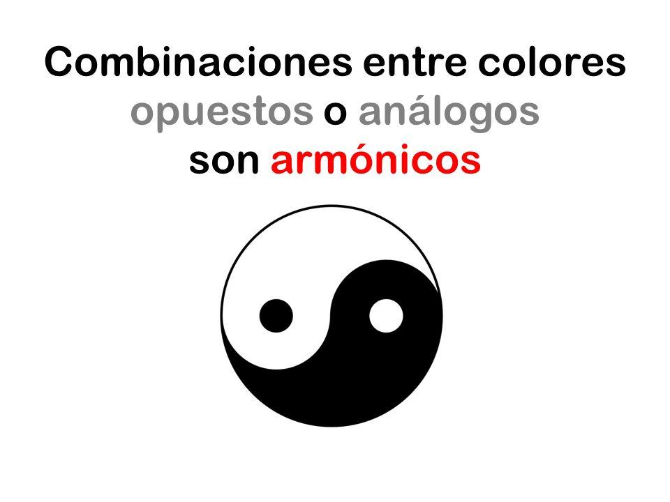 Combinaciones entre colores opuestos o análogos son armónicos