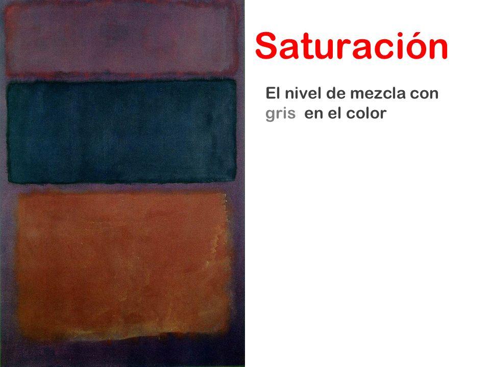 El nivel de mezcla con gris en el color Saturación