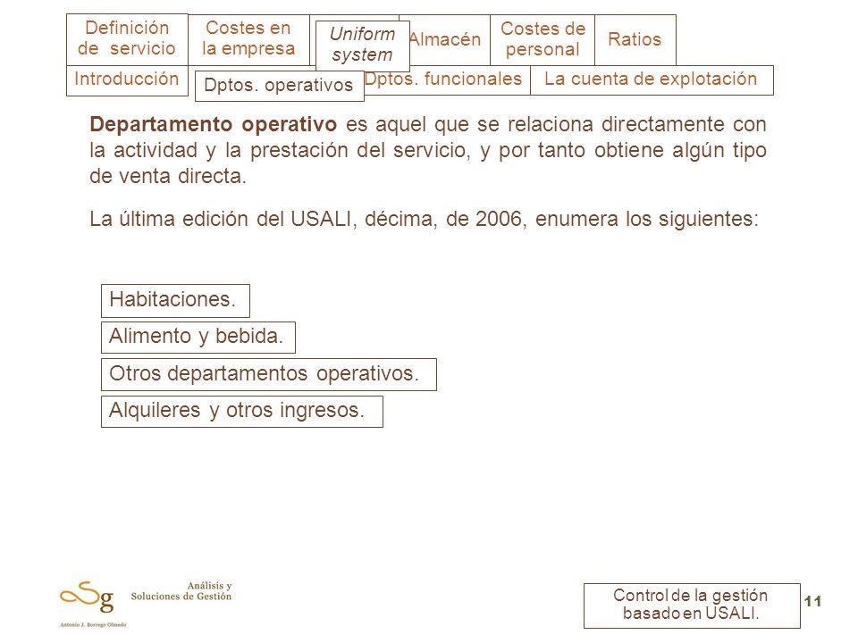 Uniform system Costes en la empresa Almacén Costes de personal Ratios Definición de servicio Control de la gestión basado en USALI. 11 Departamento op