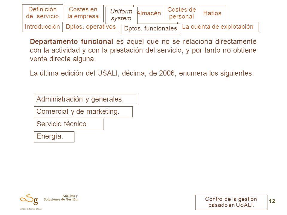 Uniform system Costes en la empresa Almacén Costes de personal Ratios Definición de servicio Control de la gestión basado en USALI. 12 Departamento fu