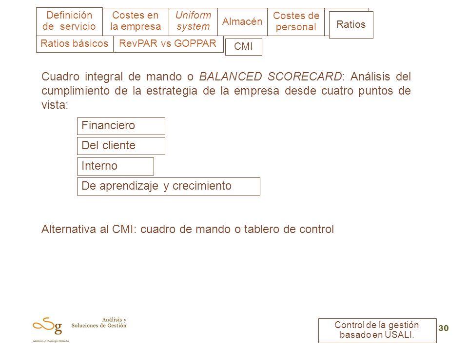 Uniform system Costes en la empresa Almacén Costes de personal Ratios Definición de servicio Control de la gestión basado en USALI. 30 CMI Ratios RevP