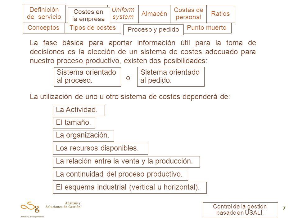 Uniform system Costes en la empresa Almacén Costes de personal Ratios Definición de servicio Control de la gestión basado en USALI. 7 Tipos de costes