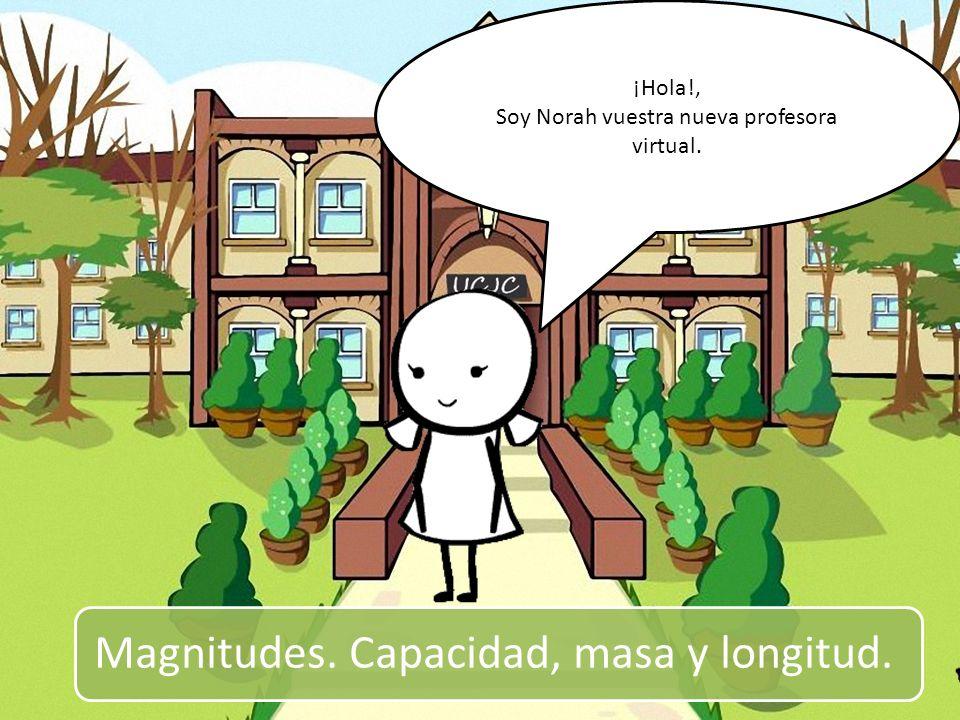 Magnitudes. Capacidad, masa y longitud. ¡Hola!, Soy Norah vuestra nueva profesora virtual.