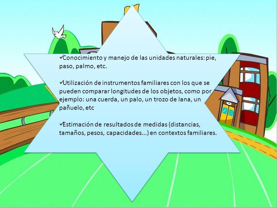 Conocimiento y manejo de las unidades naturales: pie, paso, palmo, etc. Utilización de instrumentos familiares con los que se pueden comparar longitud