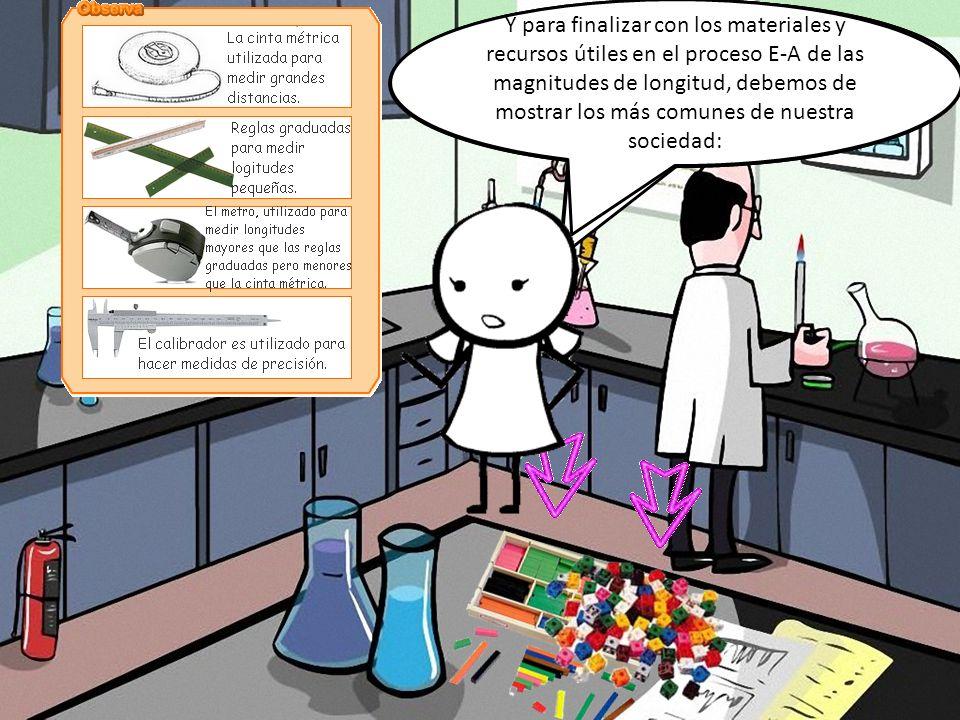 Ya estamos de vuelta en nuestro laboratorio. Veamos ejemplos gráficos de los materiales y recursos. Si queremos medir una magnitud de longitud, podemo