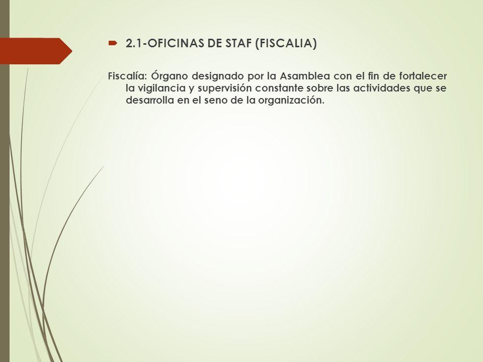 2.1-OFICINAS DE STAF (FISCALIA) Fiscalía: Órgano designado por la Asamblea con el fin de fortalecer la vigilancia y supervisión constante sobre las ac