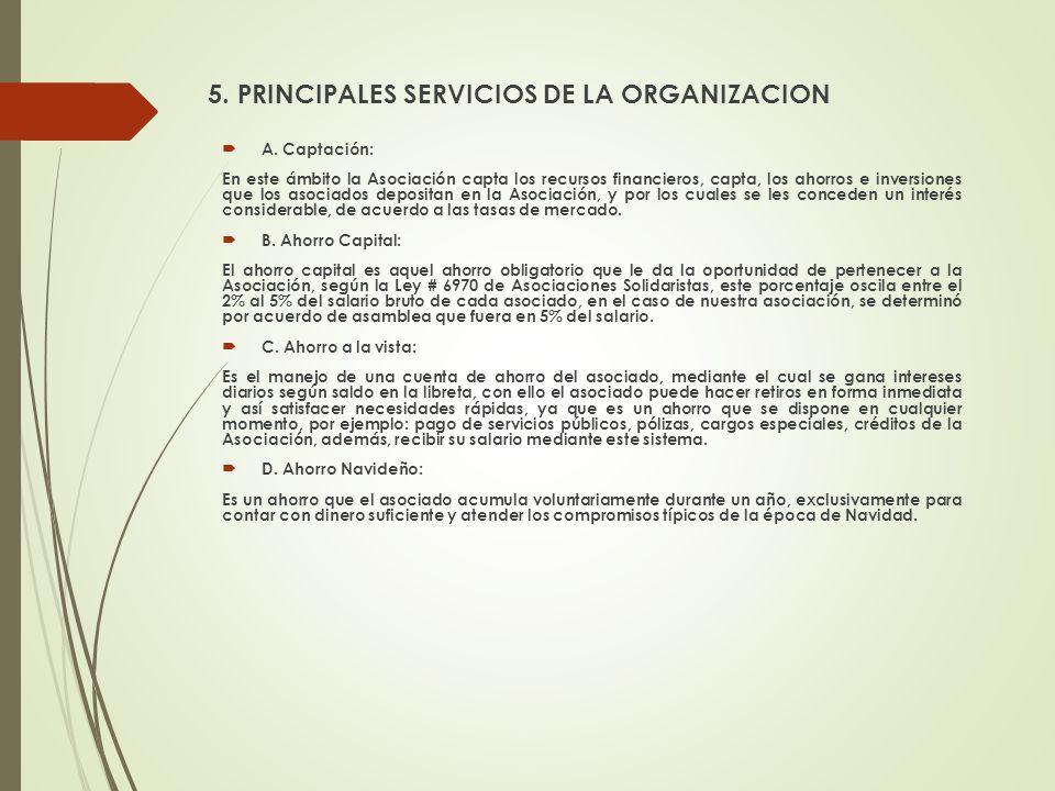 A. Captación: En este ámbito la Asociación capta los recursos financieros, capta, los ahorros e inversiones que los asociados depositan en la Asociaci