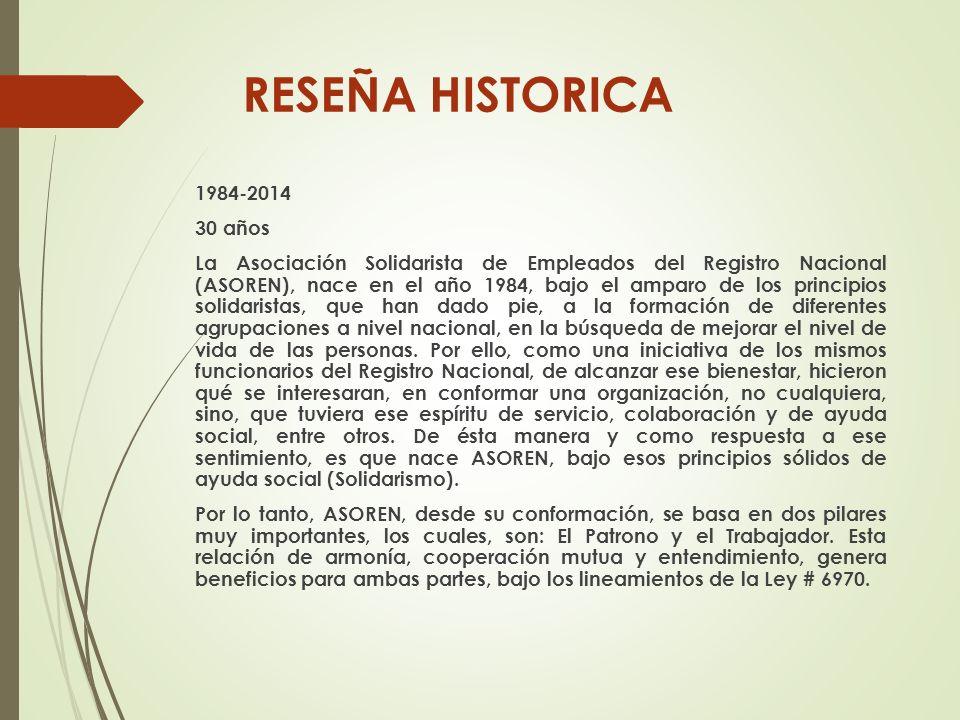 RESEÑA HISTORICA 1984-2014 30 años La Asociación Solidarista de Empleados del Registro Nacional (ASOREN), nace en el año 1984, bajo el amparo de los p