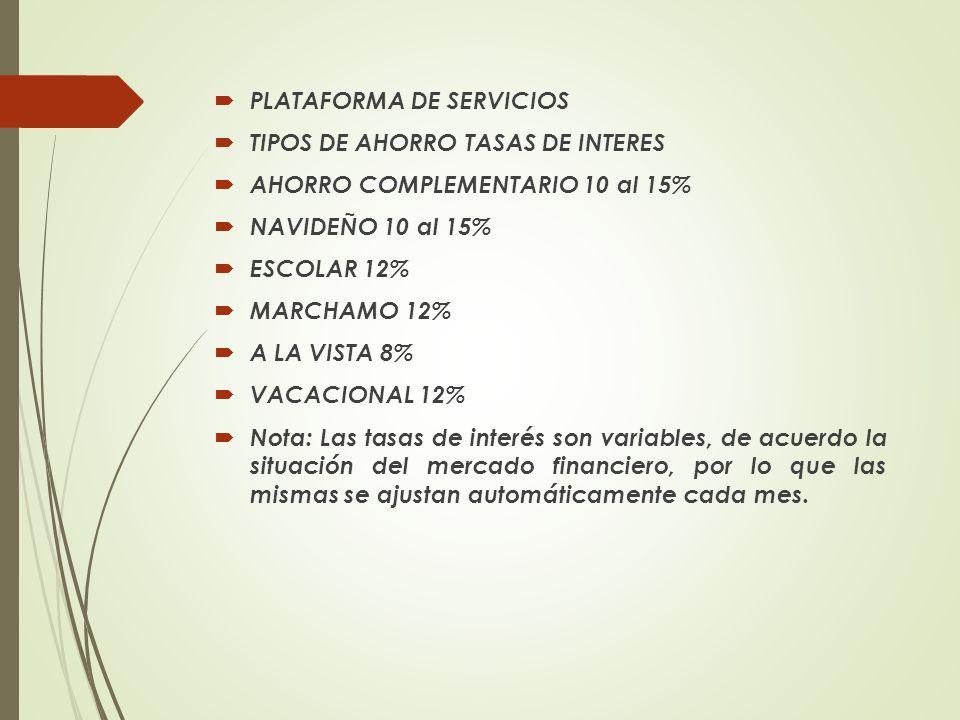 PLATAFORMA DE SERVICIOS TIPOS DE AHORRO TASAS DE INTERES AHORRO COMPLEMENTARIO 10 al 15% NAVIDEÑO 10 al 15% ESCOLAR 12% MARCHAMO 12% A LA VISTA 8% VAC