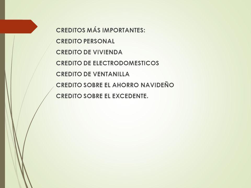 CREDITOS MÁS IMPORTANTES: CREDITO PERSONAL CREDITO DE VIVIENDA CREDITO DE ELECTRODOMESTICOS CREDITO DE VENTANILLA CREDITO SOBRE EL AHORRO NAVIDEÑO CRE