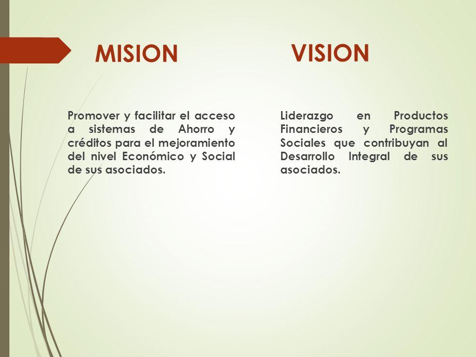 MISION Promover y facilitar el acceso a sistemas de Ahorro y créditos para el mejoramiento del nivel Económico y Social de sus asociados. VISION Lider
