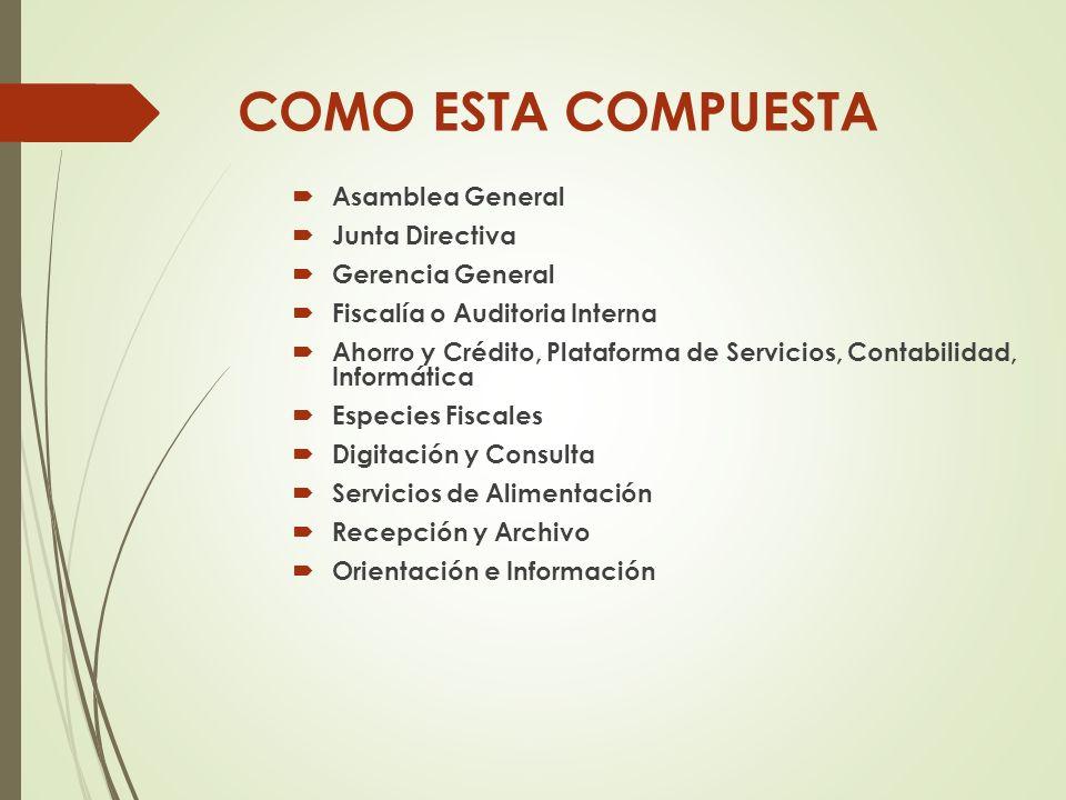 COMO ESTA COMPUESTA Asamblea General Junta Directiva Gerencia General Fiscalía o Auditoria Interna Ahorro y Crédito, Plataforma de Servicios, Contabil