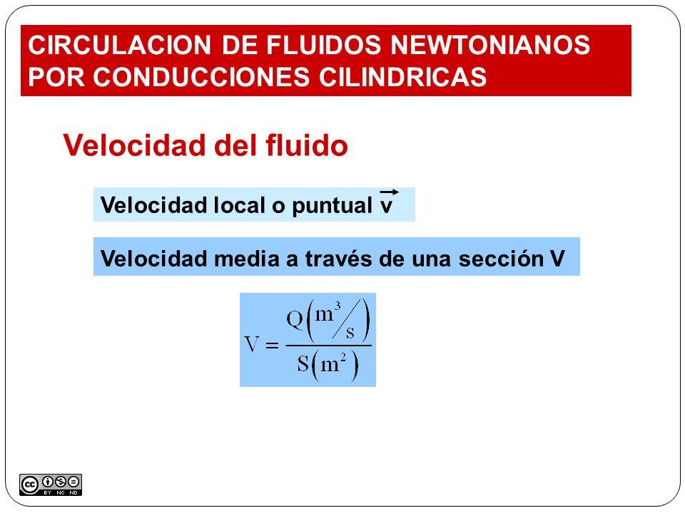 CIRCULACION DE FLUIDOS NEWTONIANOS POR CONDUCCIONES CILINDRICAS Velocidad del fluido Velocidad local o puntual v Velocidad media a través de una secci
