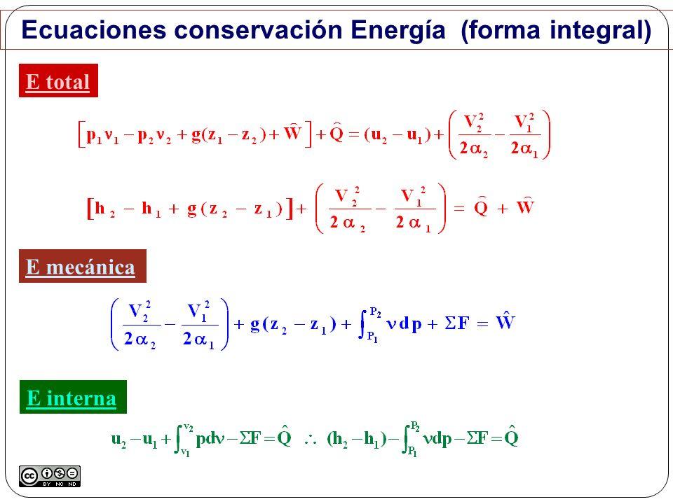 Ecuaciones conservación Energía (forma integral) E total E mecánica E interna