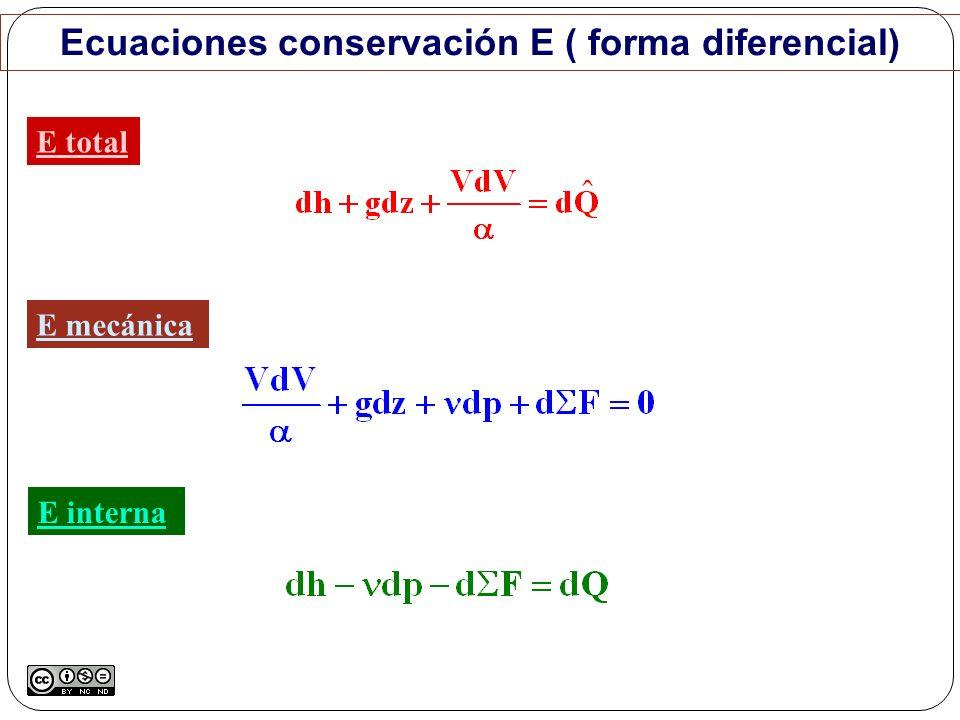 Ecuaciones conservación E ( forma diferencial) E total E mecánica E interna