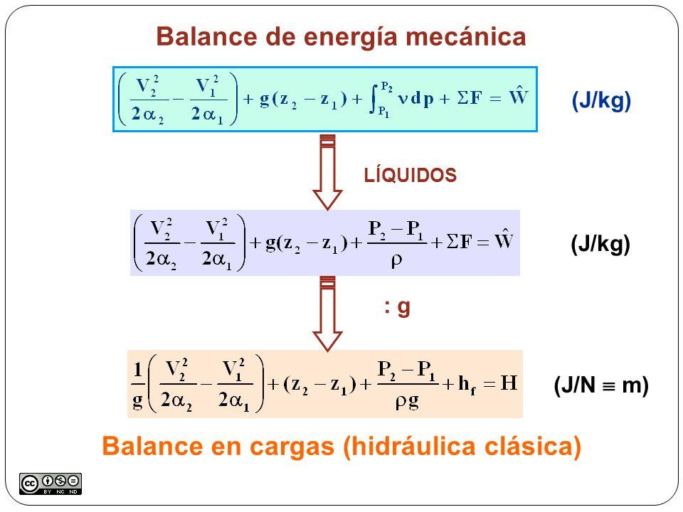 Balance en cargas (hidráulica clásica) (J/kg) (J/N m) Balance de energía mecánica LÍQUIDOS : g (J/kg)