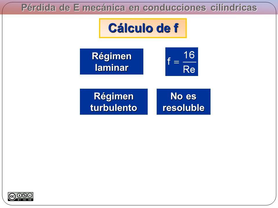 Pérdida de E mecánica en conducciones cilíndricas Cálculo de f Régimen laminar Régimen turbulento No es resoluble