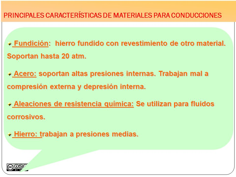 PRINCIPALES CARACTERÍSTICAS DE MATERIALES PARA CONDUCCIONES Fundición: hierro fundido con revestimiento de otro material. Soportan hasta 20 atm. Fundi