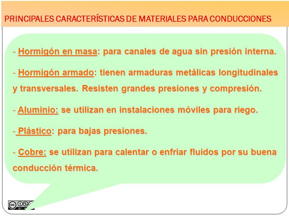 PRINCIPALES CARACTERÍSTICAS DE MATERIALES PARA CONDUCCIONES - Hormigón en masa: para canales de agua sin presión interna. - Hormigón armado: tienen ar
