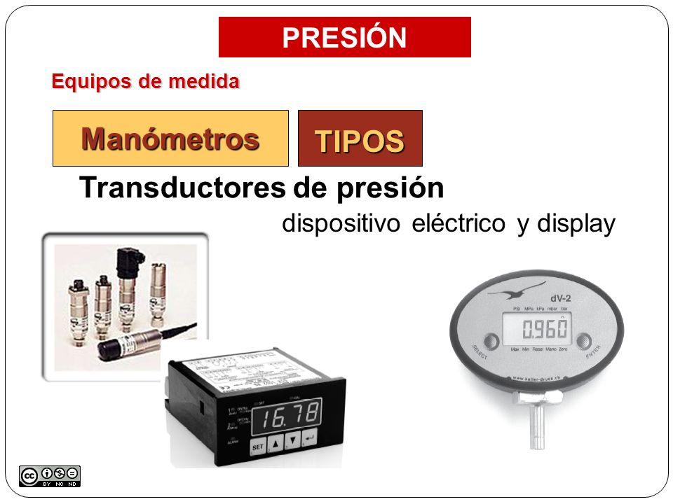 Equipos de medida PRESIÓN Manómetros Transductores de presión dispositivo eléctrico y display TIPOS