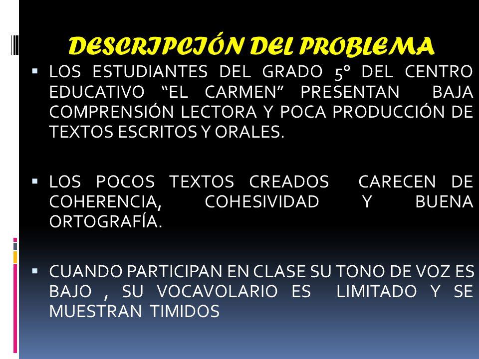 DESCRIPCIÓN DEL PROBLEMA LOS ESTUDIANTES DEL GRADO 5° DEL CENTRO EDUCATIVO EL CARMEN PRESENTAN BAJA COMPRENSIÓN LECTORA Y POCA PRODUCCIÓN DE TEXTOS ESCRITOS Y ORALES.