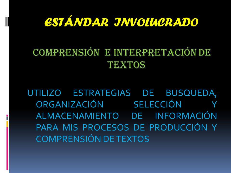 ESTÁNDAR INVOLUCRADO COMPRENSIÓN E INTERPRETACIÓN DE TEXTOS UTILIZO ESTRATEGIAS DE BUSQUEDA, ORGANIZACIÓN SELECCIÓN Y ALMACENAMIENTO DE INFORMACIÓN PARA MIS PROCESOS DE PRODUCCIÓN Y COMPRENSIÓN DE TEXTOS
