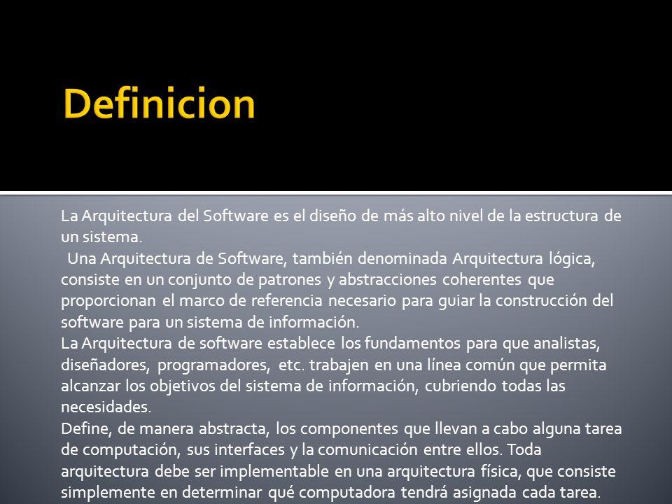 La Arquitectura del Software es el diseño de más alto nivel de la estructura de un sistema.