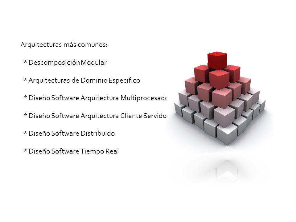 Arquitecturas más comunes: * Descomposición Modular * Arquitecturas de Dominio Especifico * Diseño Software Arquitectura Multiprocesador * Diseño Software Arquitectura Cliente Servidor * Diseño Software Distribuido * Diseño Software Tiempo Real