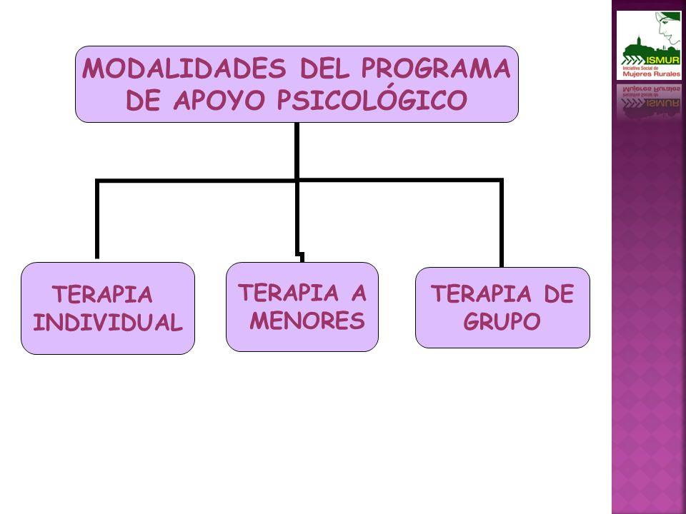 MODALIDADES DEL PROGRAMA DE APOYO PSICOLÓGICO TERAPIA INDIVIDUAL TERAPIA DE GRUPO TERAPIA A MENORES