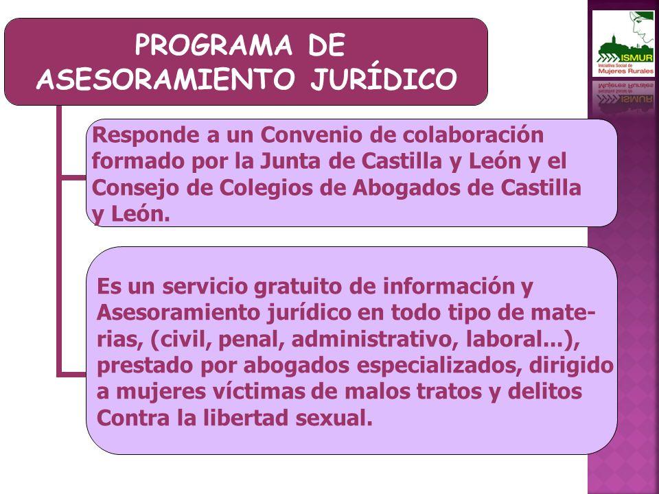 PROGRAMA DE ASESORAMIENTO JURÍDICO Responde a un Convenio de colaboración formado por la Junta de Castilla y León y el Consejo de Colegios de Abogados de Castilla y León.