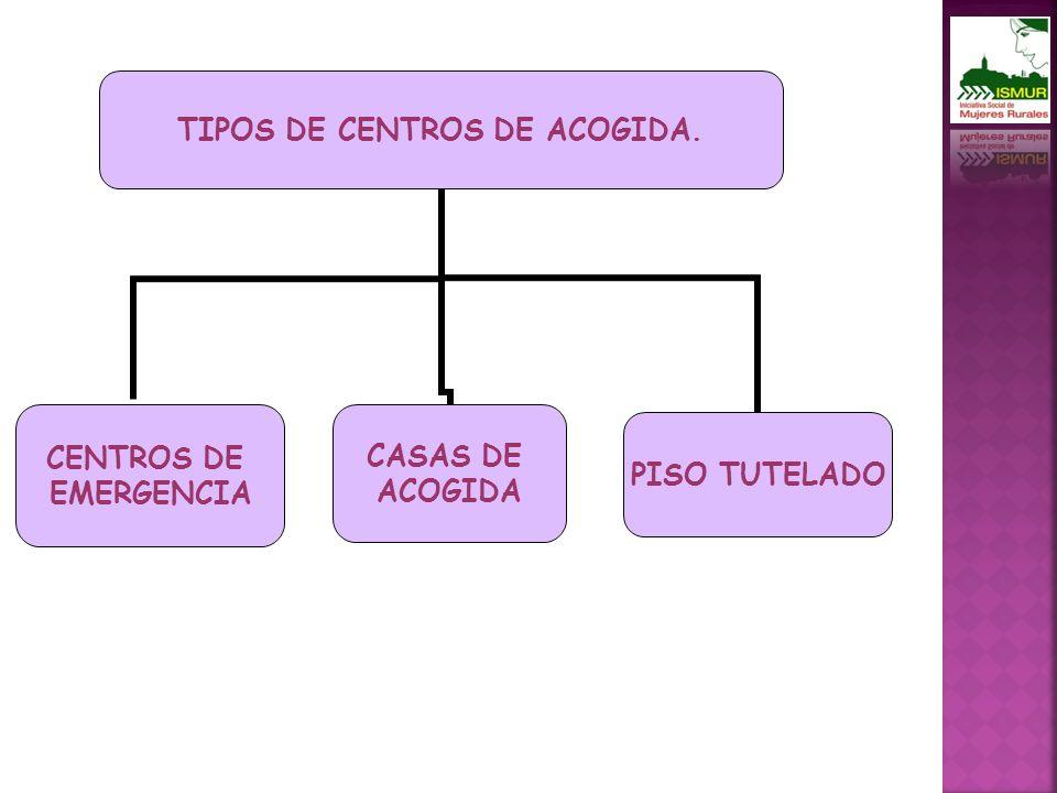 TIPOS DE CENTROS DE ACOGIDA. CENTROS DE EMERGENCIA PISO TUTELADO CASAS DE ACOGIDA